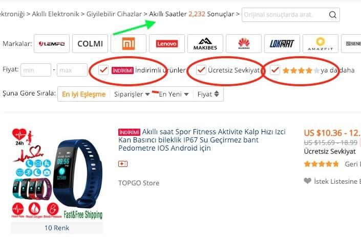 aliexpress akıllı saat fiyatları
